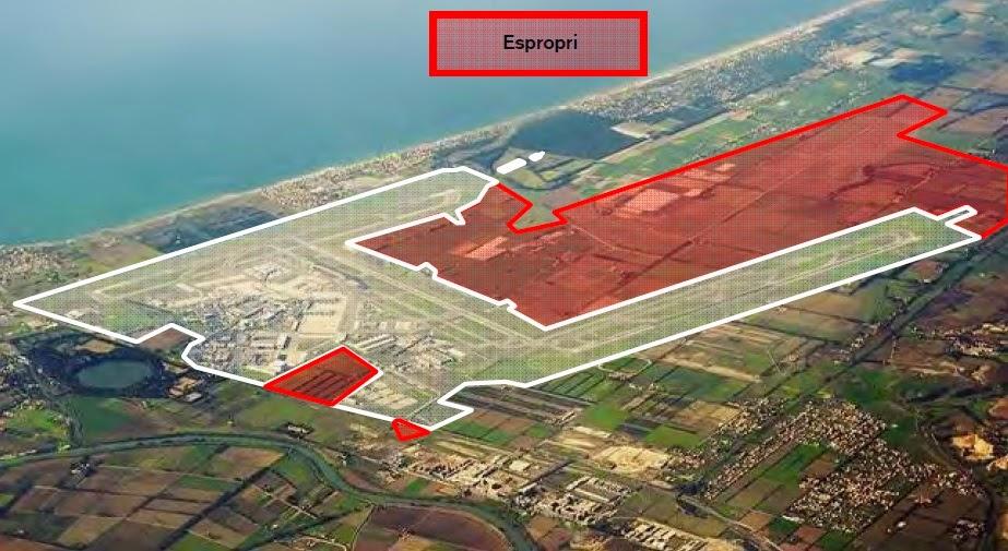 le aree interessate dall'esproprio per il raddoppio dell'aeroporto di Fiumicino