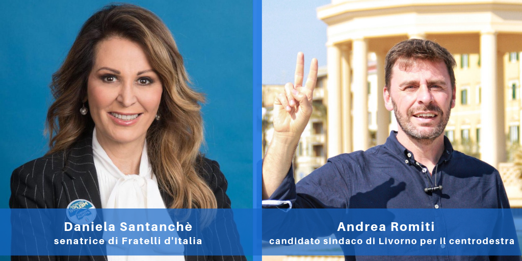 Daniela Santanchè, senatrice di Fratelli d'Italia, e Andrea Romiti, candidato sindaco di Livorno per il centrodestra