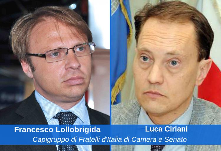 i capigruppo di Fratelli d'Italia di Camera e Senato, Francesco Lollobrigida e Luca Ciriani.