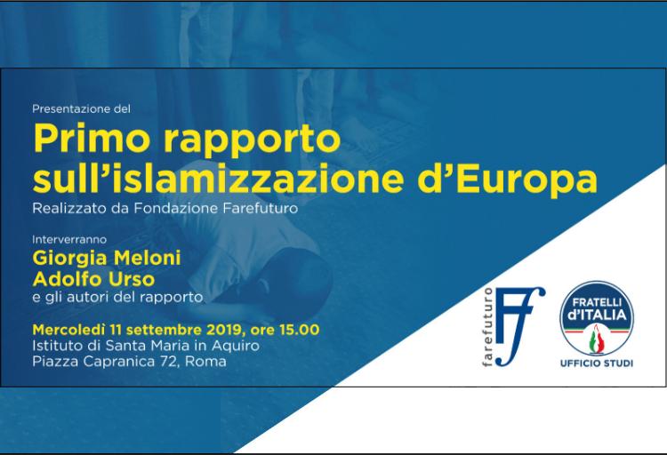 Mercoledì 11 settembre presentazione Rapporto 2019 su islamizzazione Europa