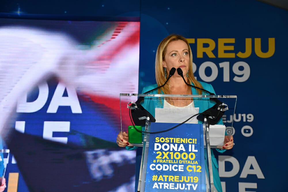 Giorgia Meloni, presidente di Fratelli d'Italia, durante Atreju 2019