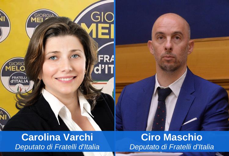 Carolina Varchi e Ciro Maschio, deputati di Fratelli d'Italia in commissione Giustizia