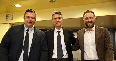 Consiglieri regionali Andrea Bassi, Stefano Casali e Formaggio Joe di Fratelli d'Italia/MCR