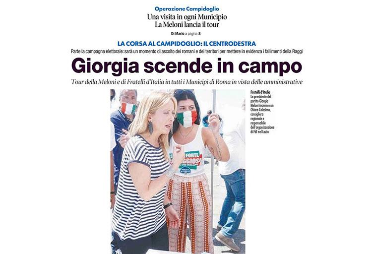 Giorgia Meloni, presidente di Fratelli d'Italia, e Chiara Colosimo, responsabile regionale organizzazione di FdI nel Lazio