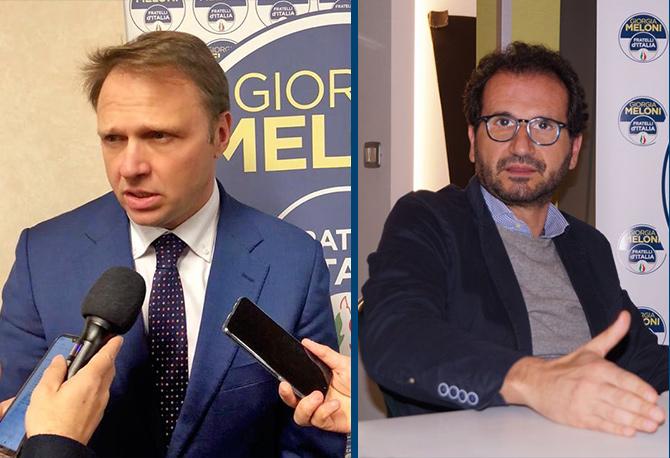 I deputati di Fratelli d'Italia, Marcello Gemmato ,segretario della Commissione Sanità presso la Camera dei Deputati, e Francesco Lollobrigida, capogruppo di FdI alla Camera.