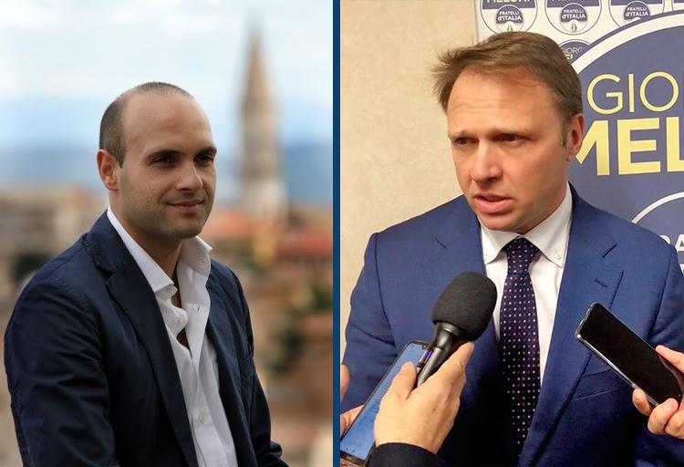 Francesco Lollobrigida, capogruppo alla Camera di Fratelli d'Italia ed Emanuele Prisco, capogruppo Fdi in commissione Affari costituzionali.