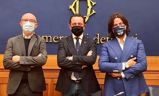 Riccardo Zucconi, Paolo Trancassini e Salvatore Caiata, deputati di Fratelli d'Italia.