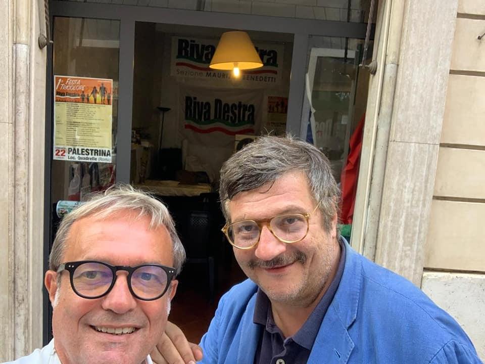 Lorenzo Loiacono, coordinatore provinciale di Riva Destra, a sinistra in foto insieme al suo fondatore Fabio Sabbatani Schiuma