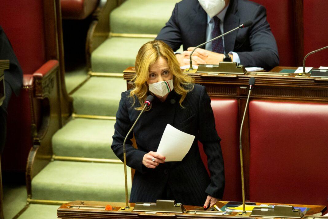 Giorgia Meloni, Presidente di Fratelli d'Italia, risponde alle comunicazioni del premier Draghi.
