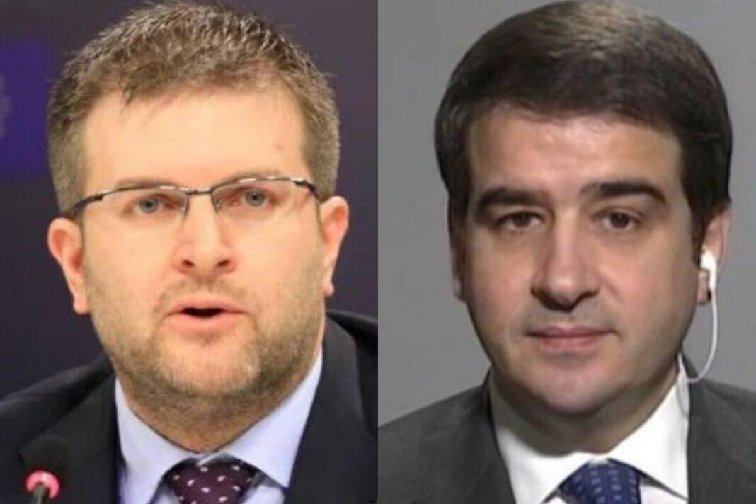 Carlo Fidanza, Capodelegazione di Fratelli d'Italia al Parlamento europeo e Raffaele Fitto, Co-Presidente del gruppo ECR.