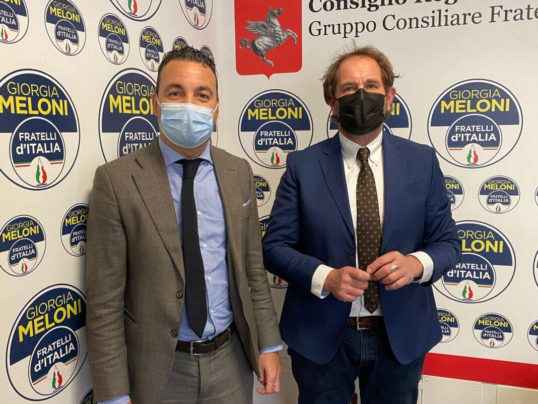 Alessandro Capecchi, consigliere regionale di Fratelli d'Italia e vice presidente della commissione Ambiente e Territorio e Gabriele Veneri, consigliere regionale di Fratelli d'Italia.