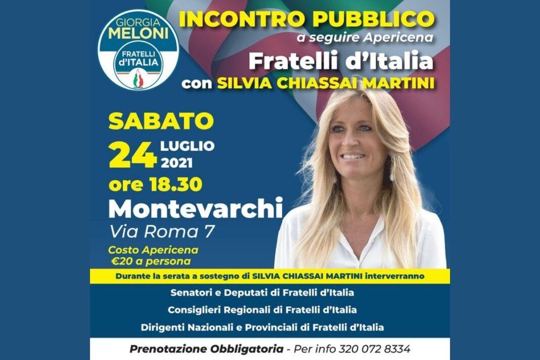 Locandina dell'evento organizzato da Fratelli d'Italia a sostegno di Silvia Chiassai Martini.