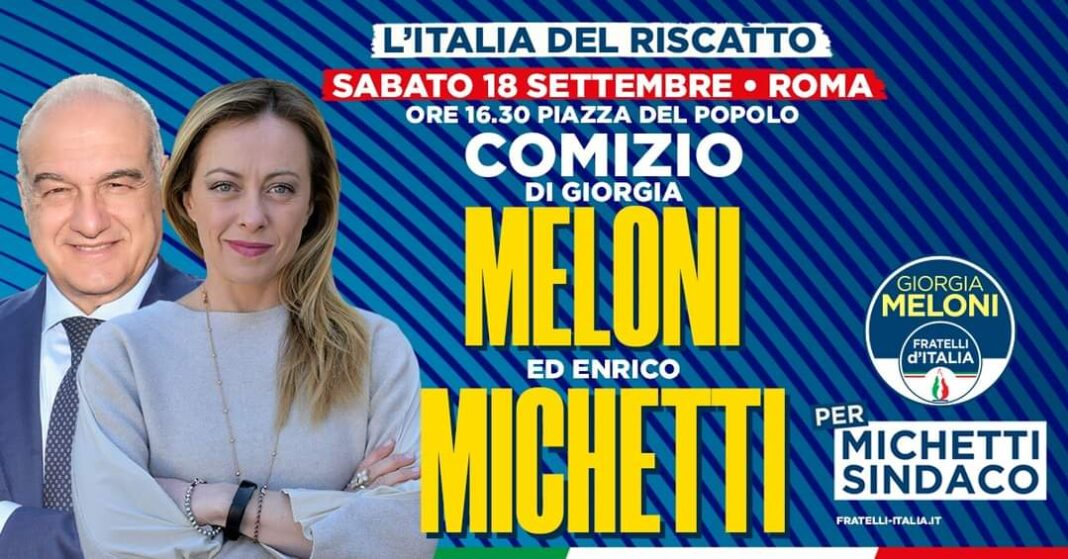 """La manifestazione """"L'Italia del riscatto"""", organizzata da Fratelli d'Italia in occasione delle elezioni amministrative a Roma"""