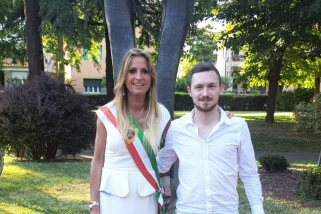 Silvia Chiassai Martini, sindaca di Montevarchi e Lorenzo Allegrucci, capolista di Fratelli d'Italia a Montevarchi.