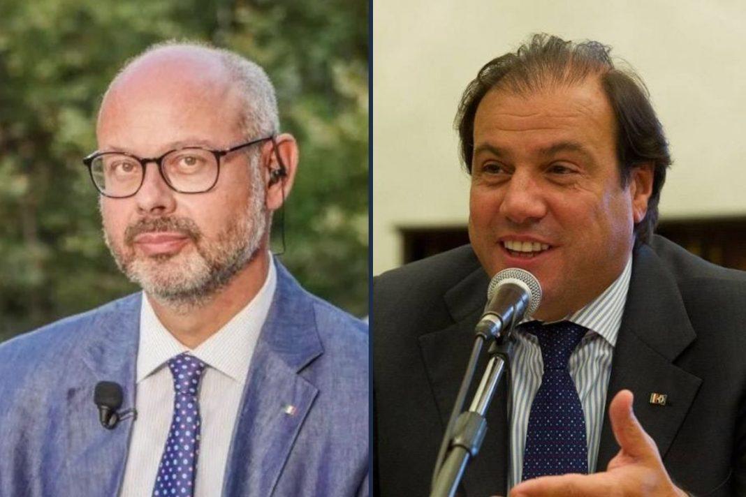Andrea de Bertoldi, senatore di Fratelli d'Italia e il prof. Maurizio Leo, responsabile nazionale Dipartimento Economia e Finanze di Fratelli d'Italia.